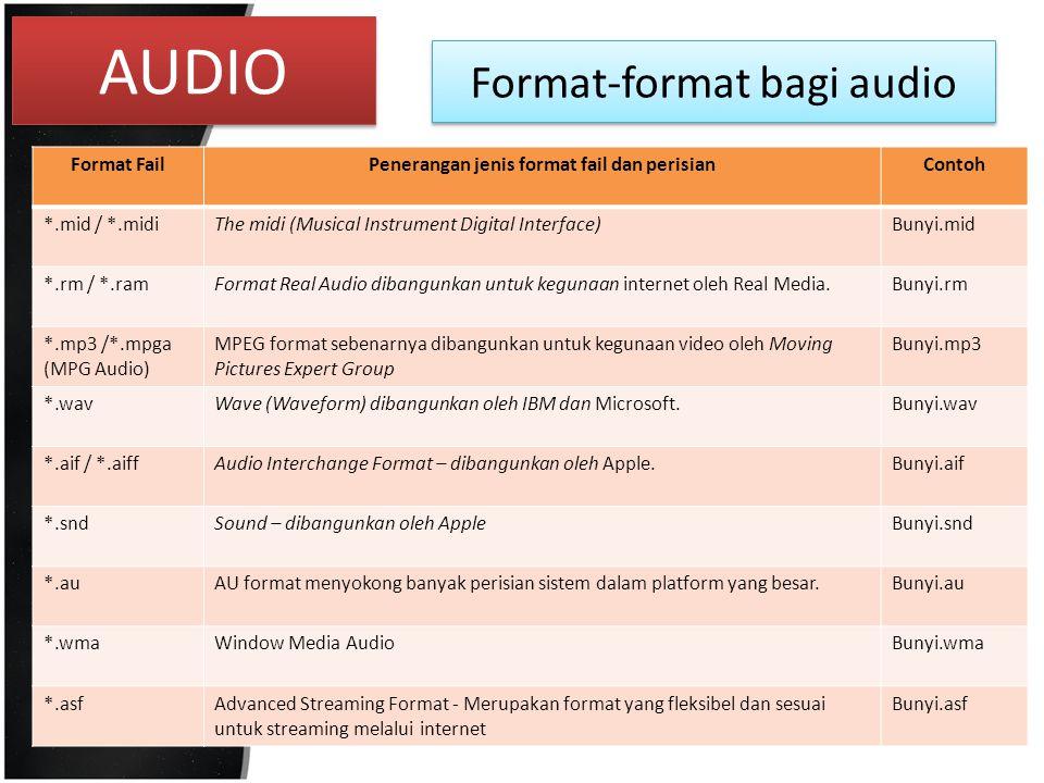 Penerangan jenis format fail dan perisian