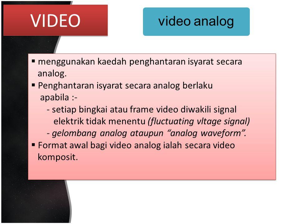 VIDEO video analog menggunakan kaedah penghantaran isyarat secara