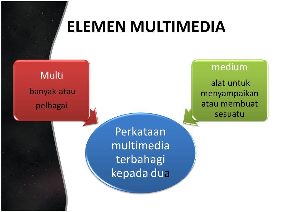 ELEMEN MULTIMEDIA medium Multi banyak atau pelbagai