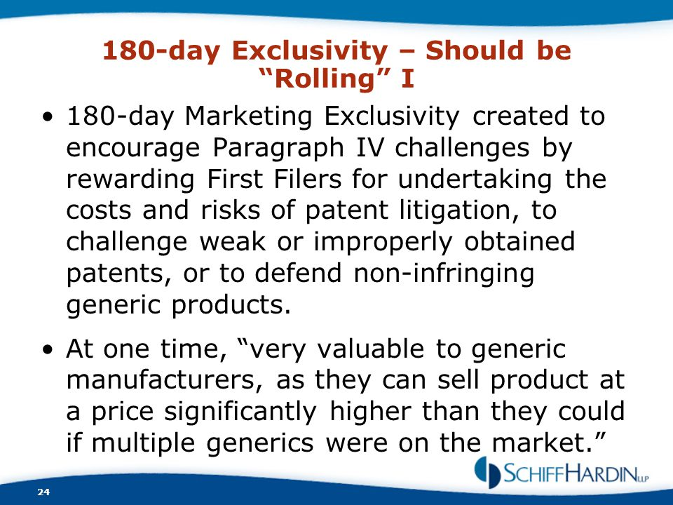180-day Exclusivity – Should be Rolling I