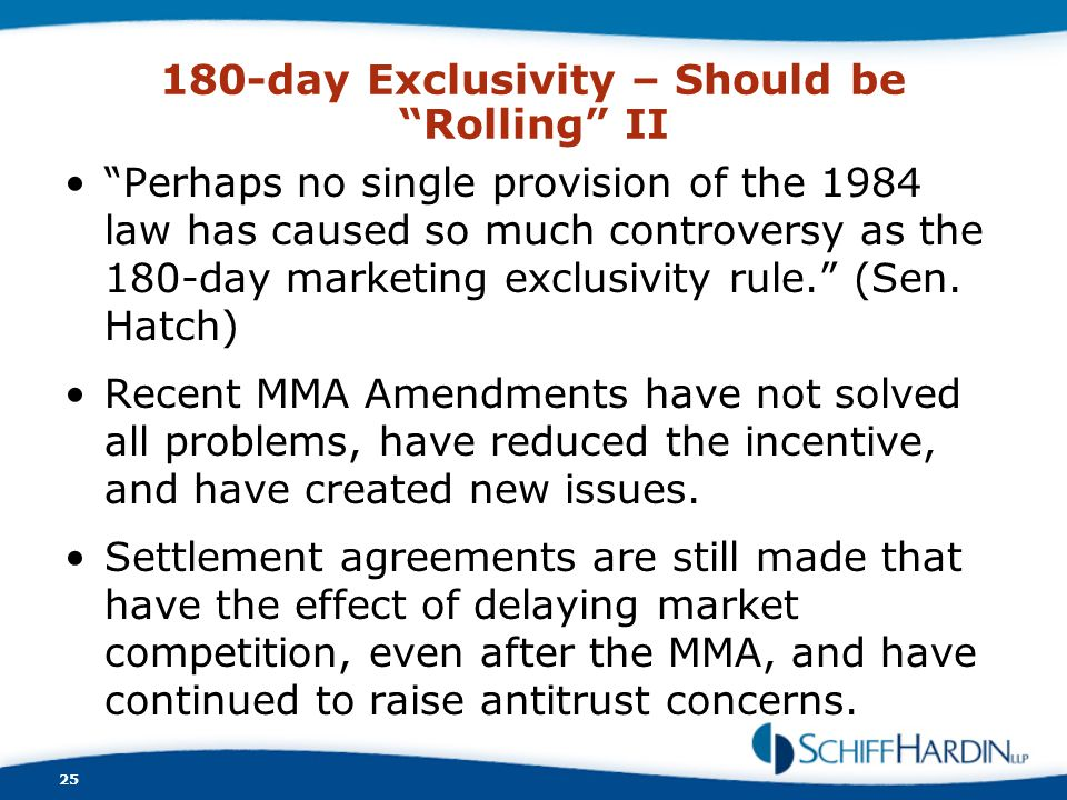 180-day Exclusivity – Should be Rolling II