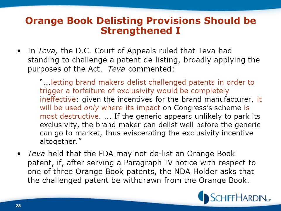 Orange Book Delisting Provisions Should be Strengthened I