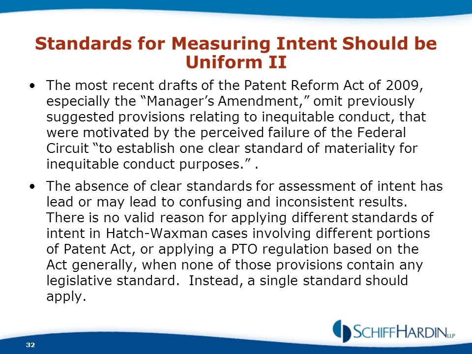 Standards for Measuring Intent Should be Uniform II