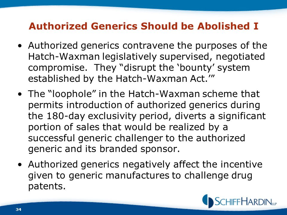 Authorized Generics Should be Abolished I