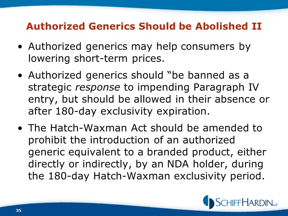 Authorized Generics Should be Abolished II