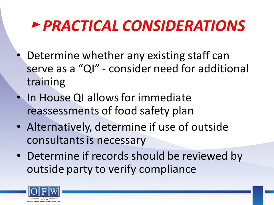 ► PRACTICAL CONSIDERATIONS