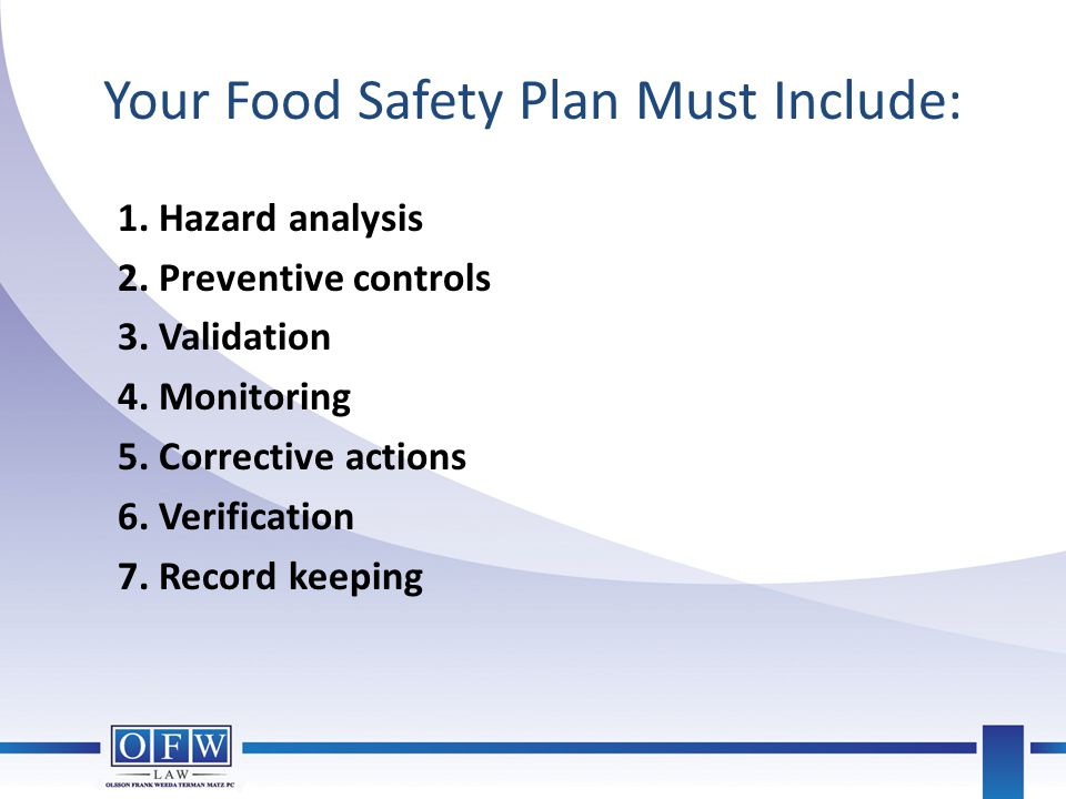 Your Food Safety Plan Must Include: