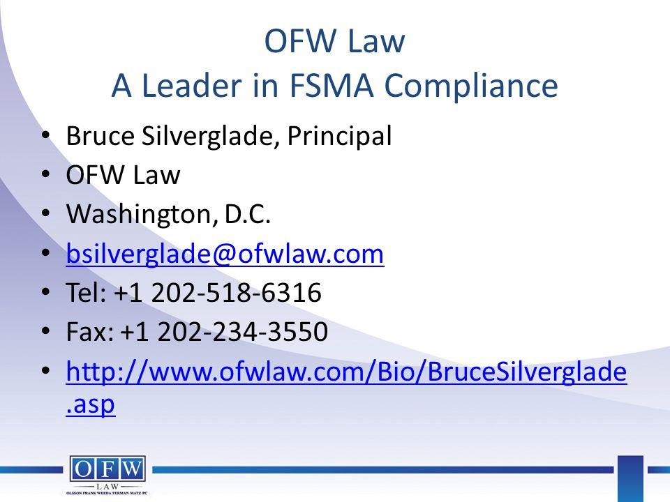 OFW Law A Leader in FSMA Compliance