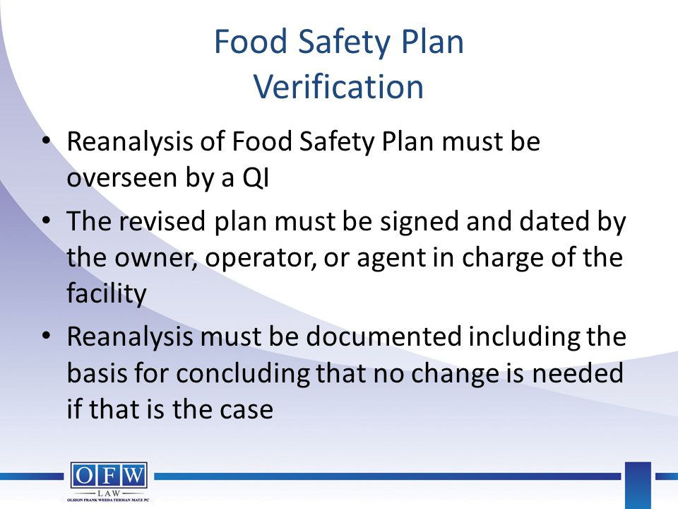 Food Safety Plan Verification