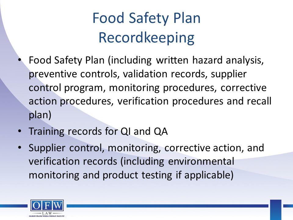 Food Safety Plan Recordkeeping