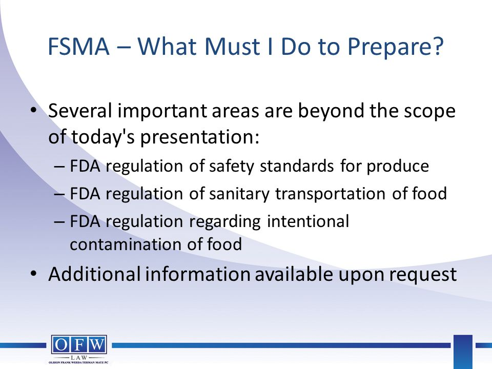 FSMA – What Must I Do to Prepare