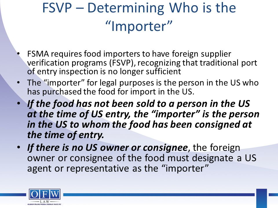 FSVP – Determining Who is the Importer