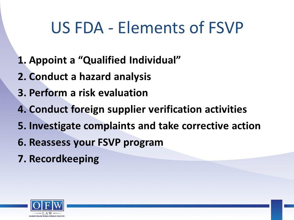 US FDA - Elements of FSVP