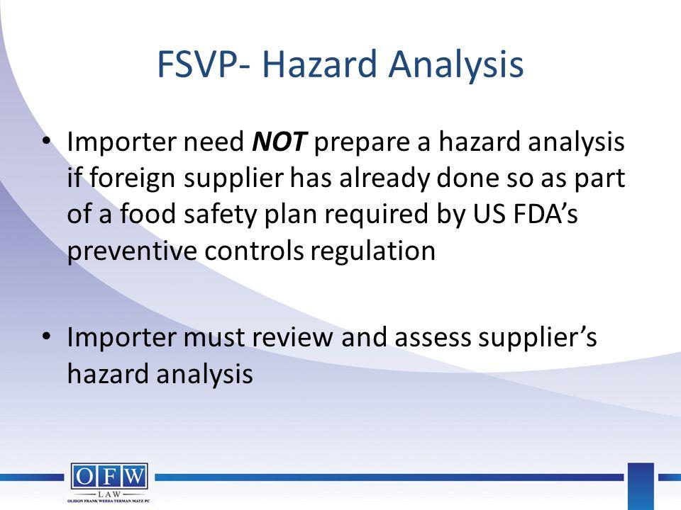 FSVP- Hazard Analysis