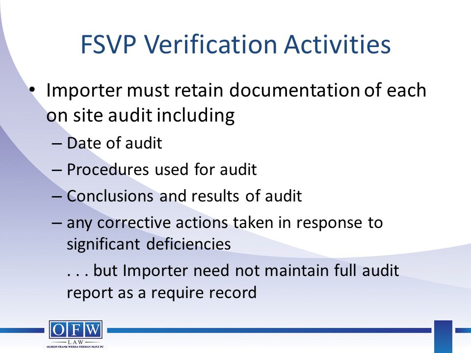 FSVP Verification Activities