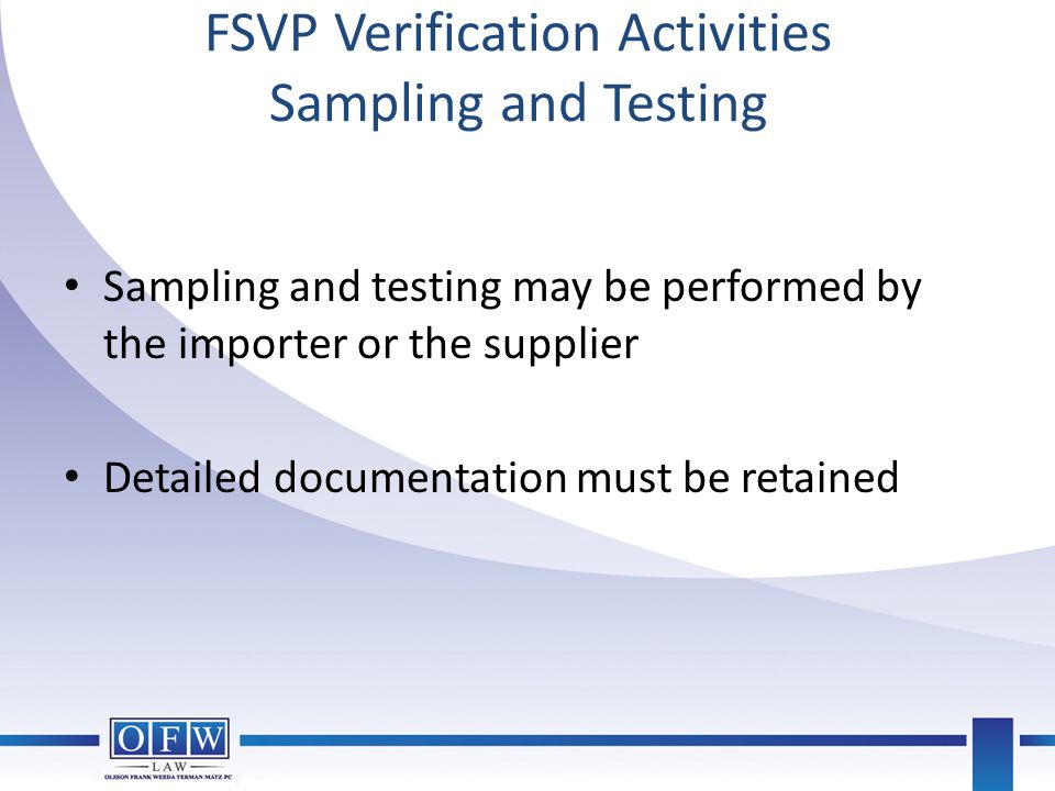 FSVP Verification Activities Sampling and Testing