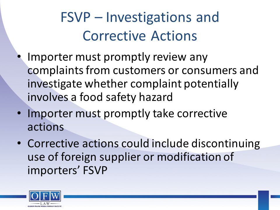 FSVP – Investigations and Corrective Actions