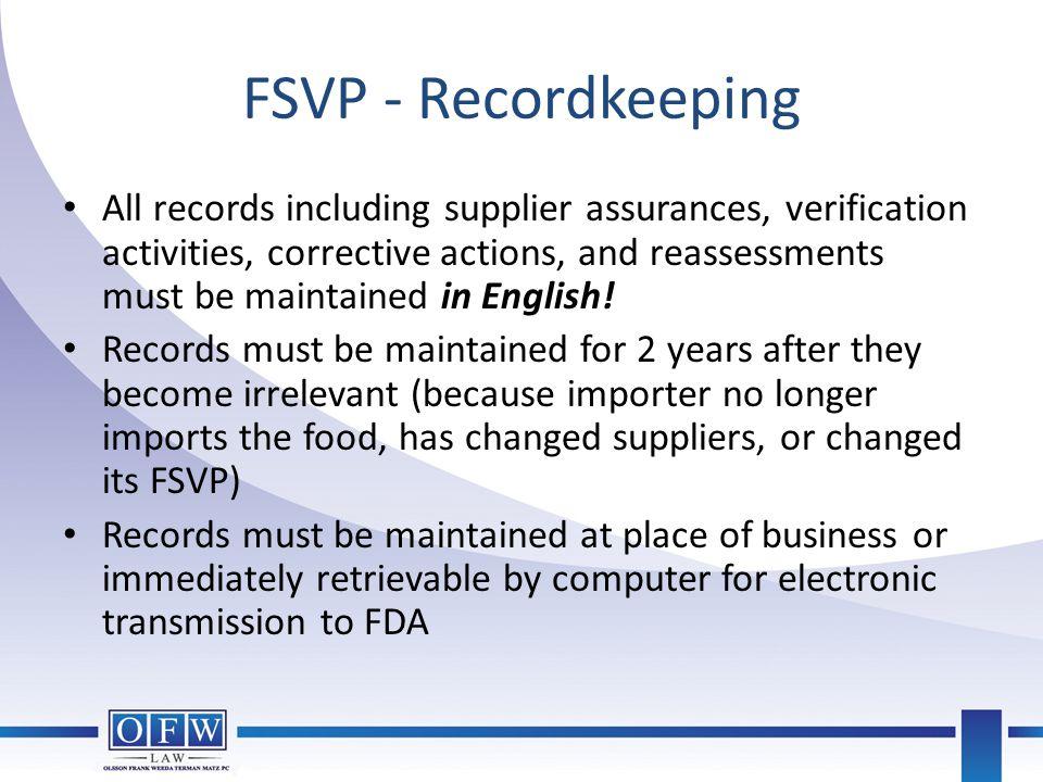 FSVP - Recordkeeping