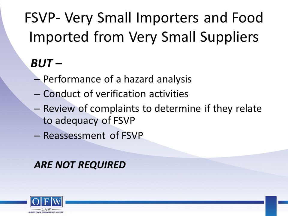 FSVP- Very Small Importers and Food Imported from Very Small Suppliers