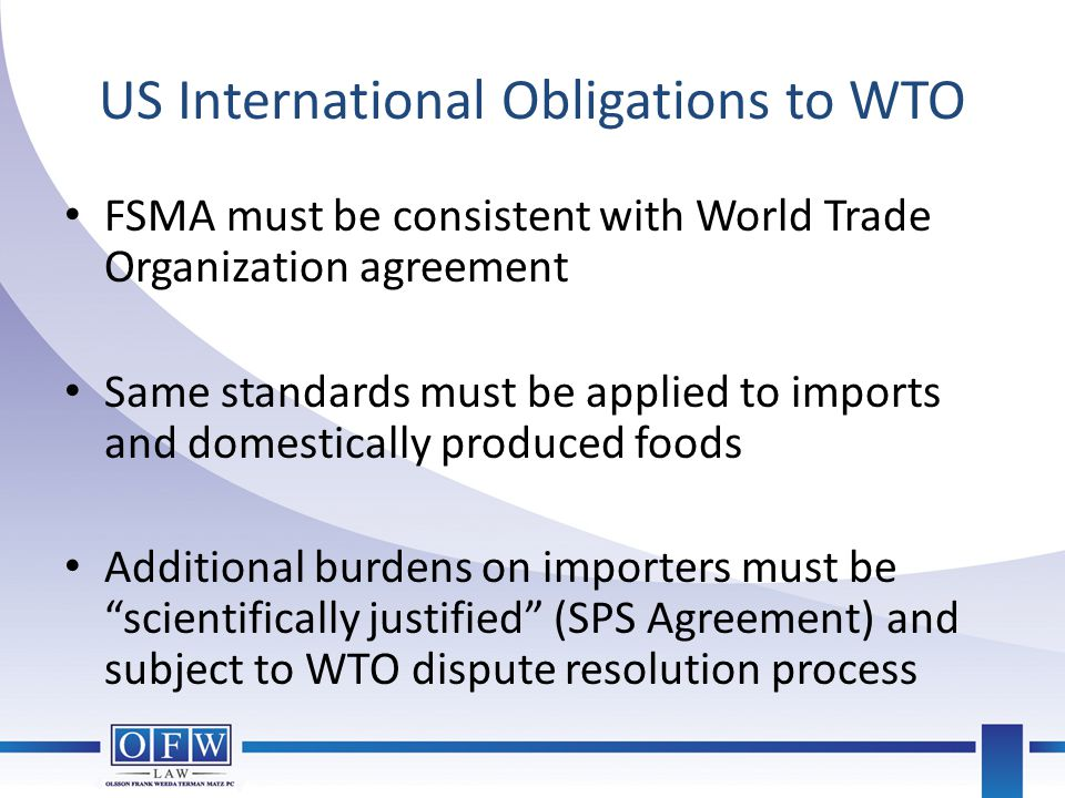 US International Obligations to WTO