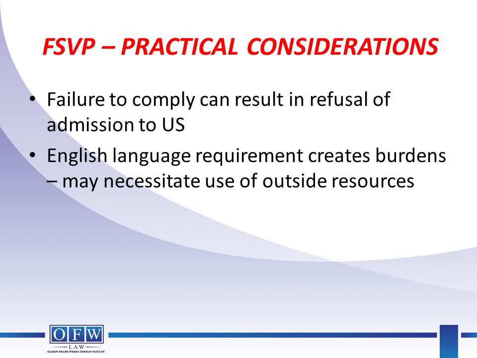 FSVP – PRACTICAL CONSIDERATIONS