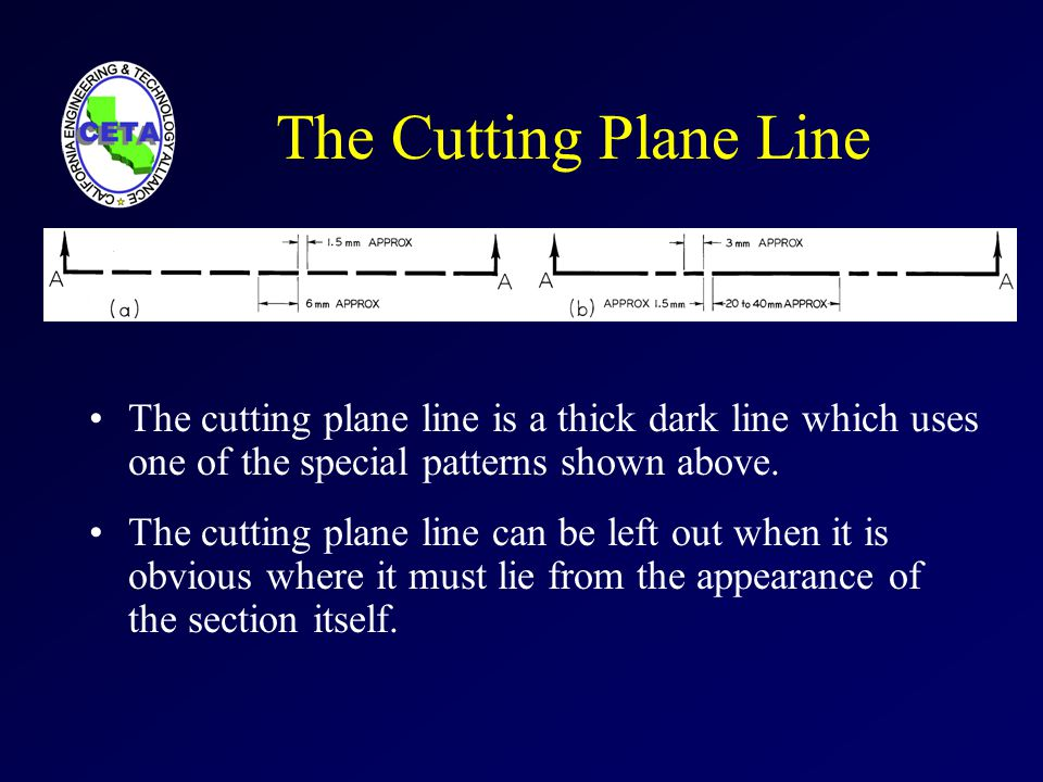 The Cutting Plane Line The cutting plane line is a thick dark line which uses one of the special patterns shown above.