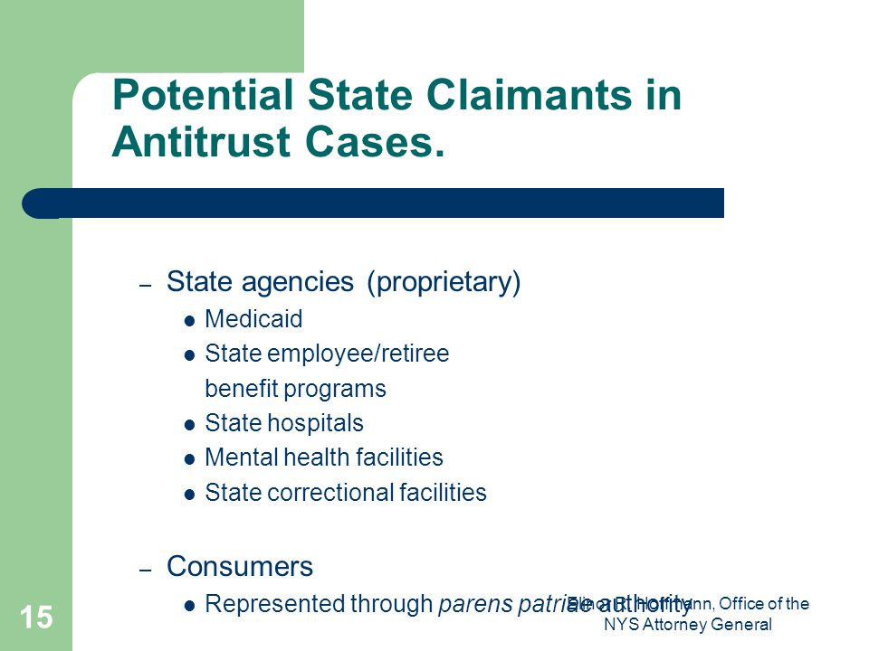 Potential State Claimants in Antitrust Cases.