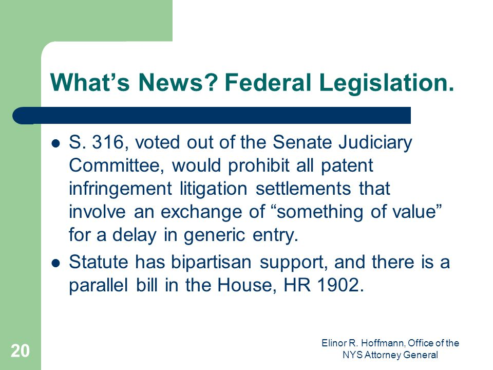 What's News Federal Legislation.