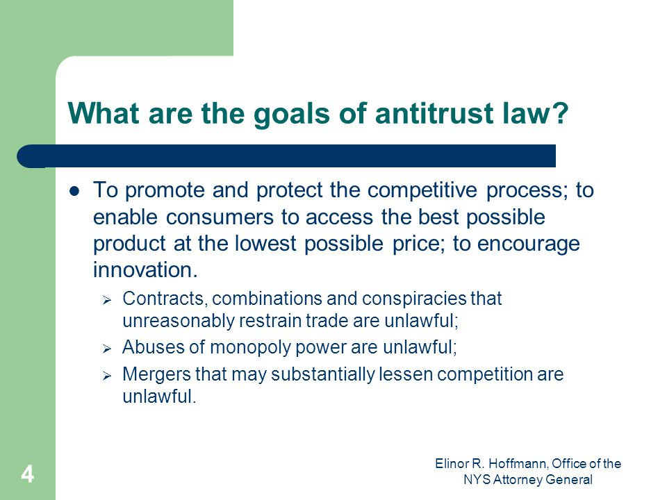 What are the goals of antitrust law