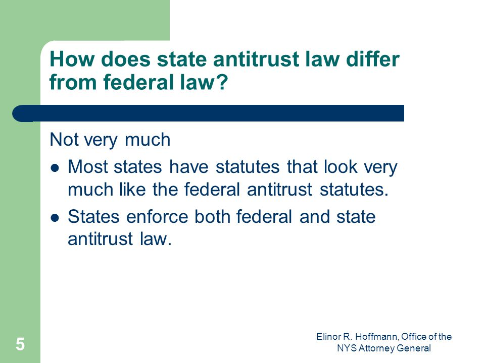 How does state antitrust law differ from federal law