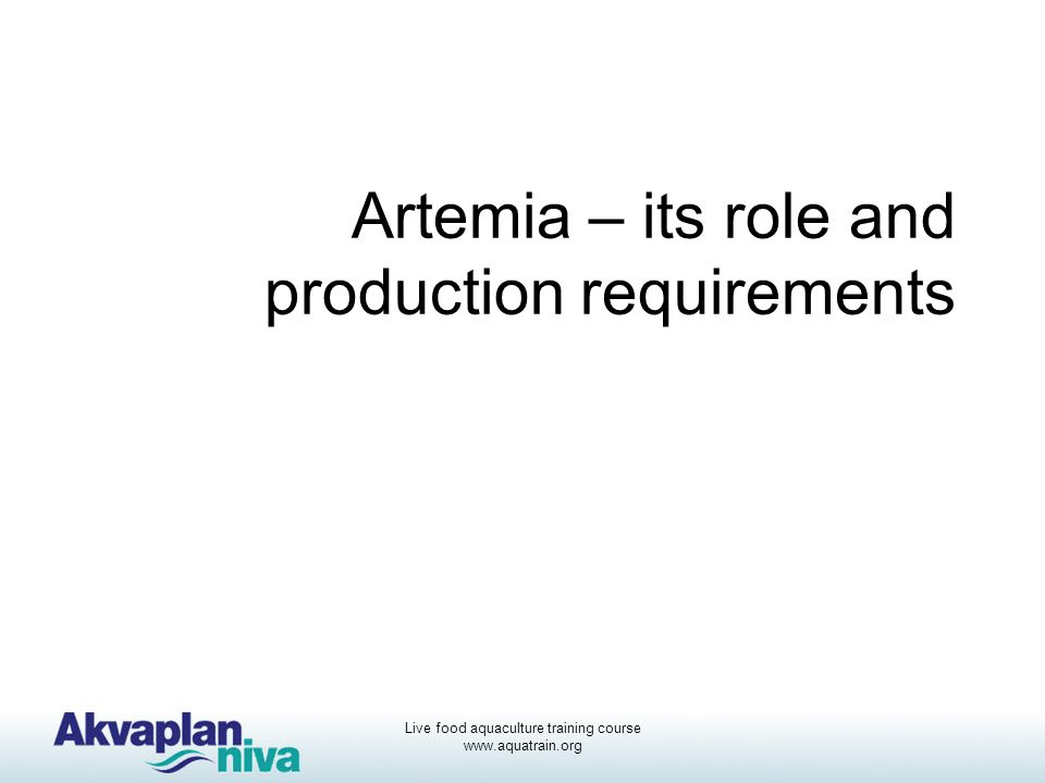 Artemia – its role and production requirements