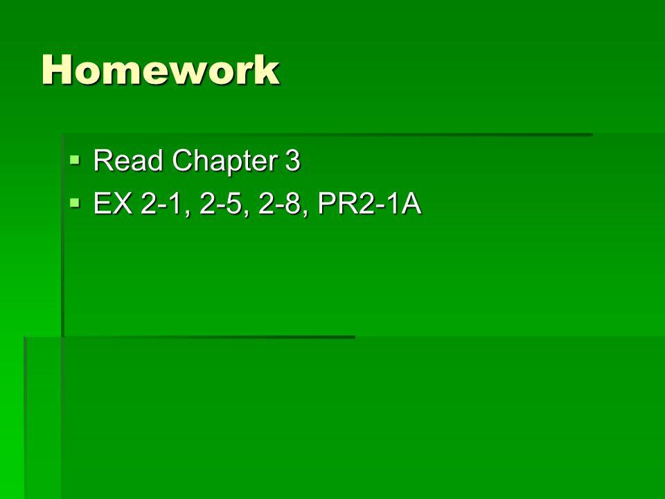 Homework Read Chapter 3 EX 2-1, 2-5, 2-8, PR2-1A
