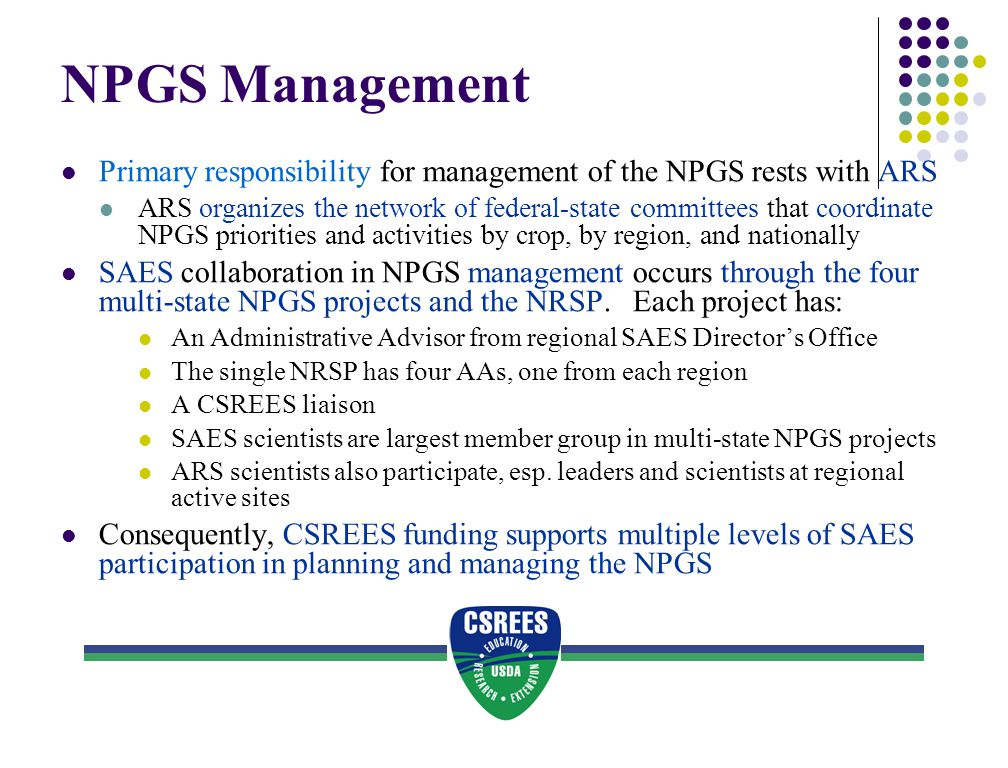 NPGS Management Primary responsibility for management of the NPGS rests with ARS.