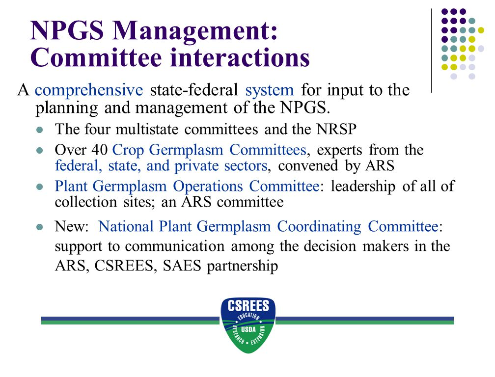 NPGS Management: Committee interactions