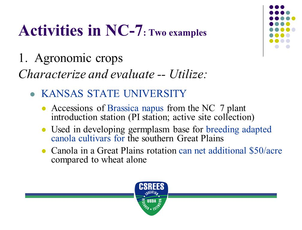 Activities in NC-7: Two examples