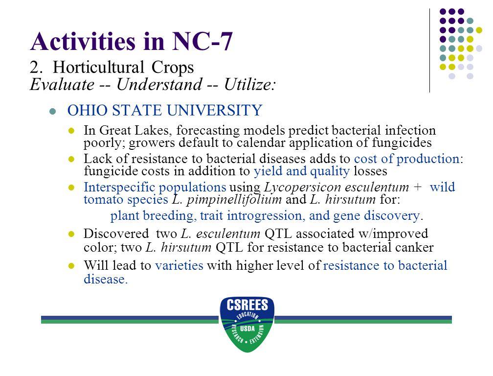 Activities in NC-7 2. Horticultural Crops