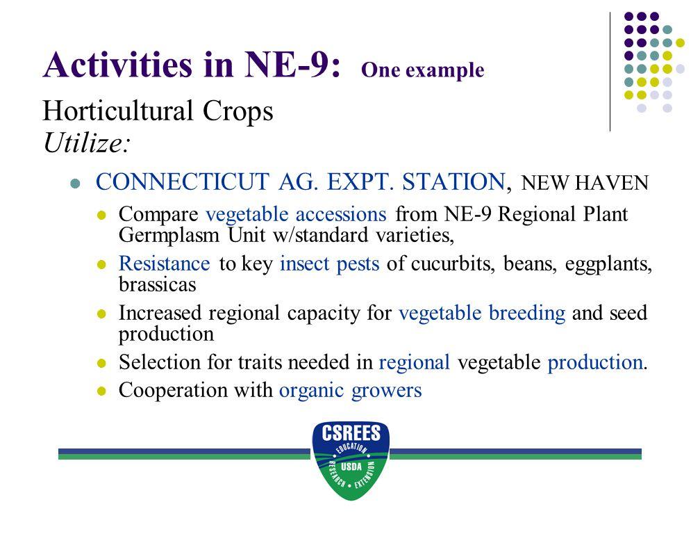 Activities in NE-9: One example