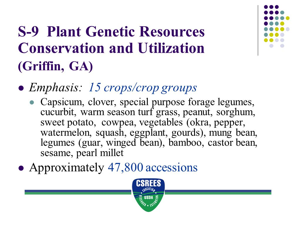 S-9 Plant Genetic Resources Conservation and Utilization (Griffin, GA)