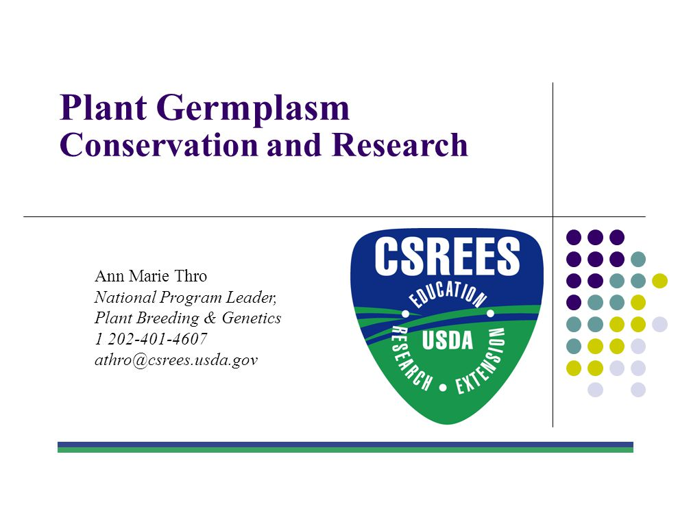 Plant Germplasm Conservation and Research