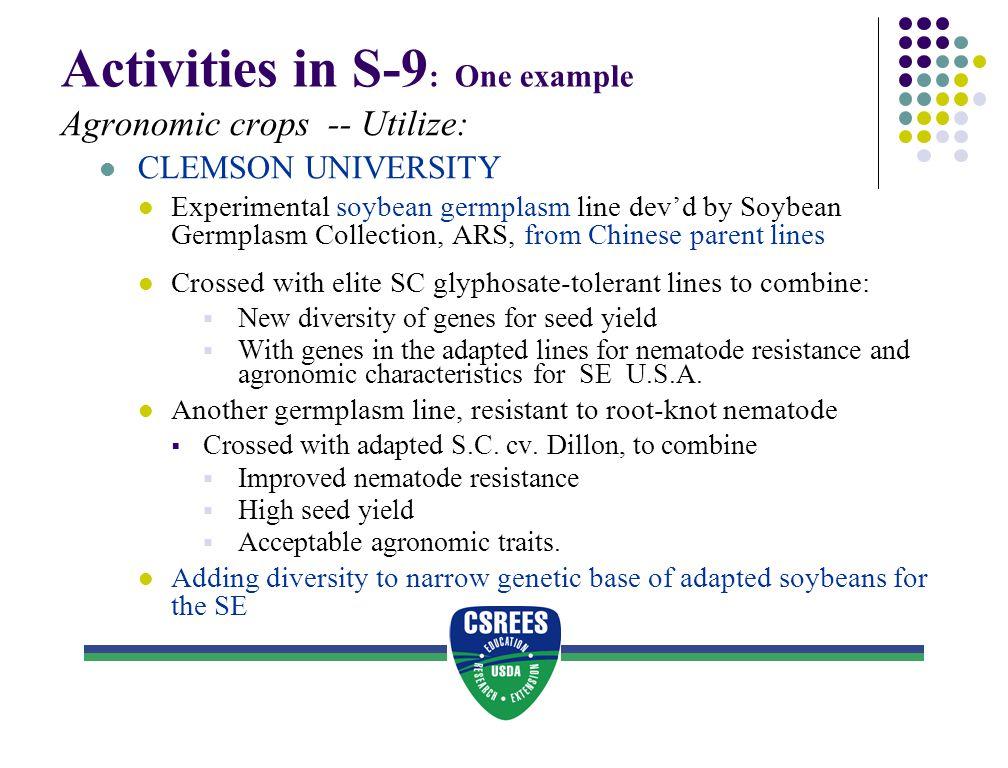 Activities in S-9: One example