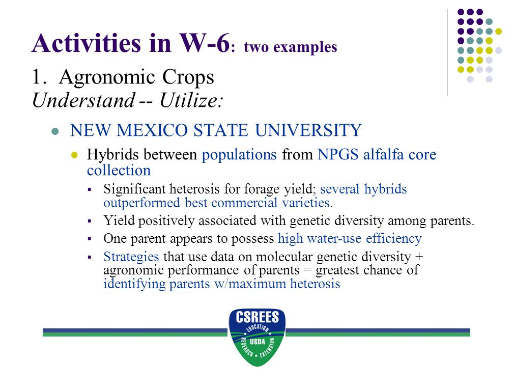 Activities in W-6: two examples