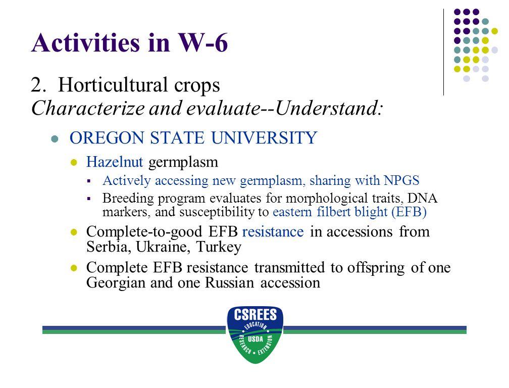 Activities in W-6 2. Horticultural crops