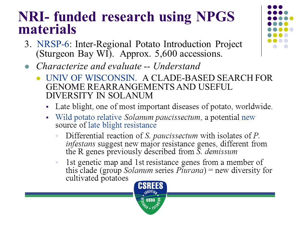 NRI- funded research using NPGS materials