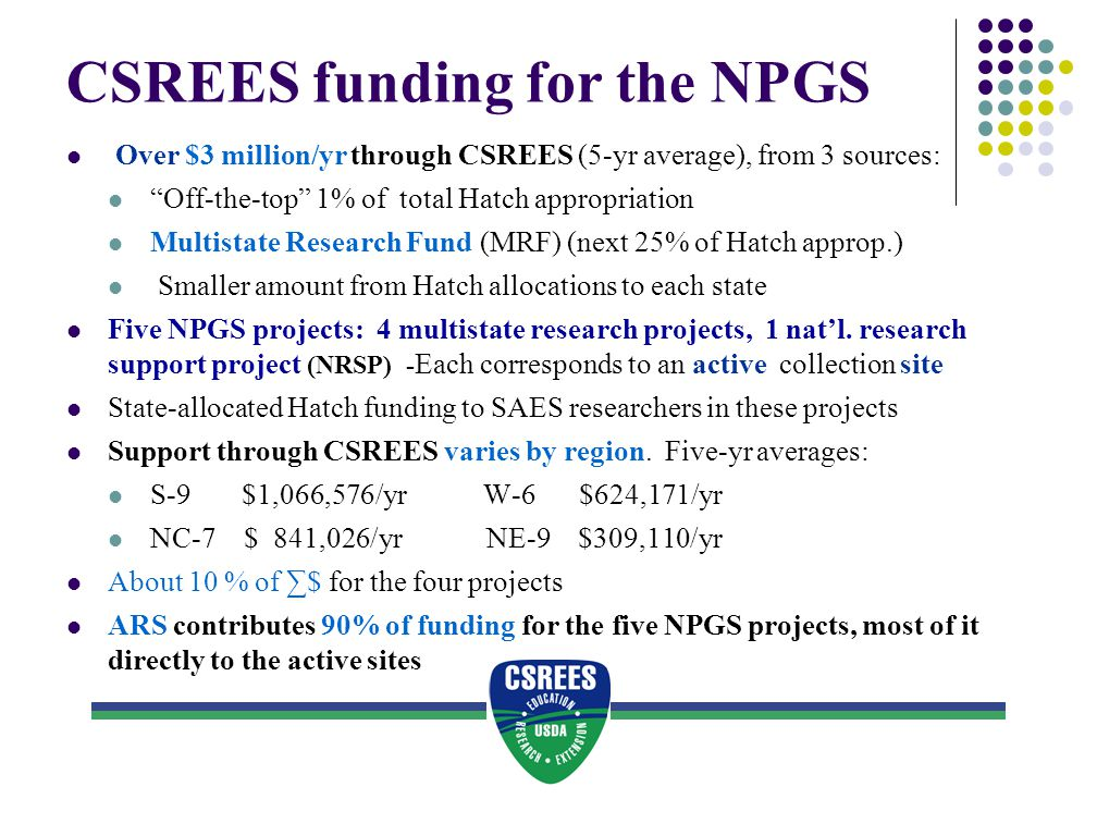 CSREES funding for the NPGS