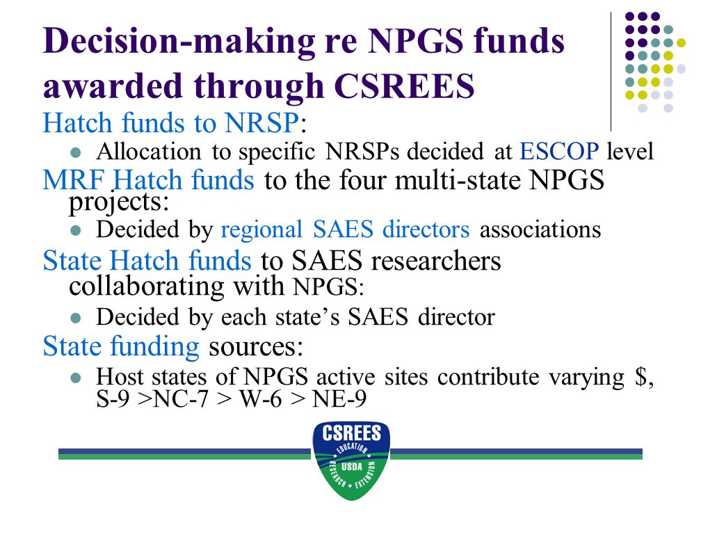 Decision-making re NPGS funds awarded through CSREES