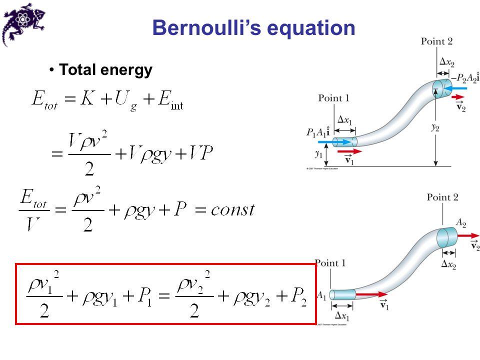 Bernoulli's equation Total energy