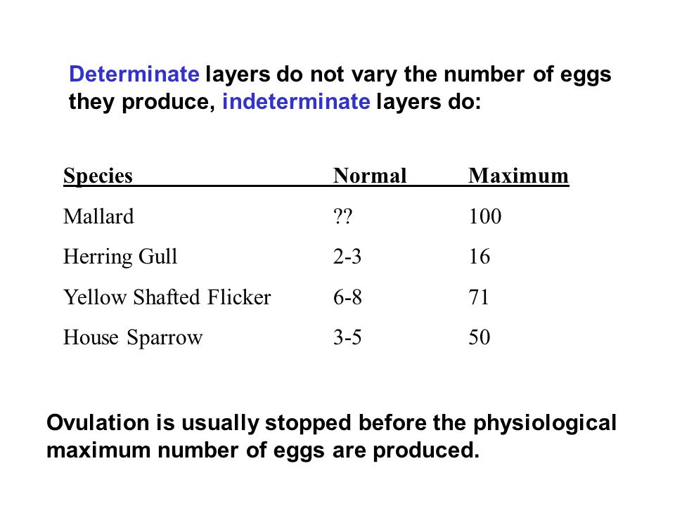 Determinate layers do not vary the number of eggs they produce, indeterminate layers do: