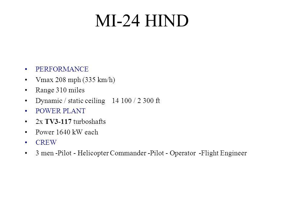 MI-24 HIND PERFORMANCE Vmax 208 mph (335 km/h) Range 310 miles