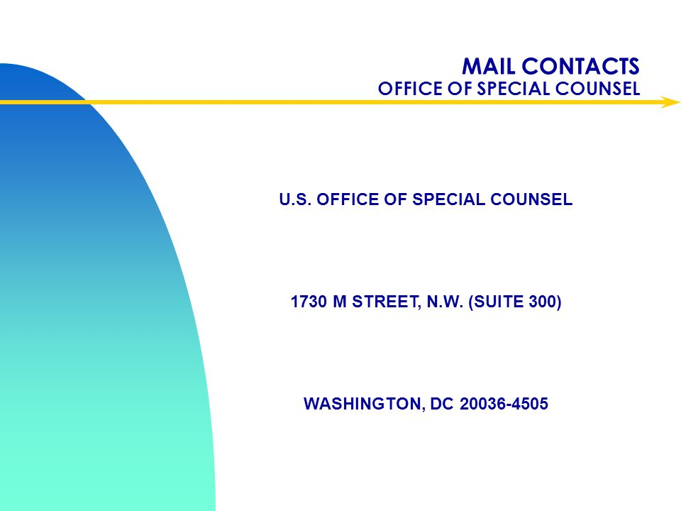 MAIL CONTACTS OFFICE OF SPECIAL COUNSEL