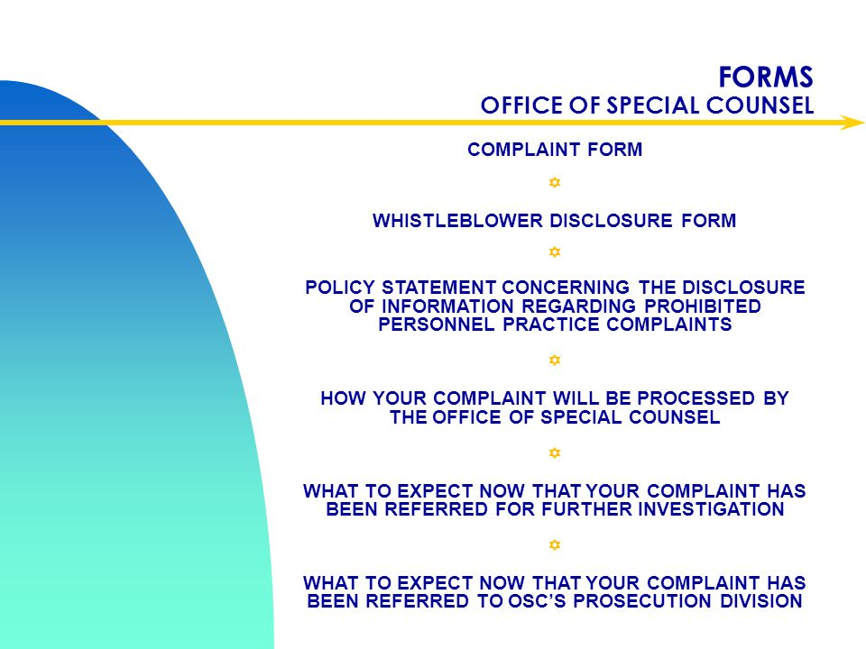 FORMS OFFICE OF SPECIAL COUNSEL